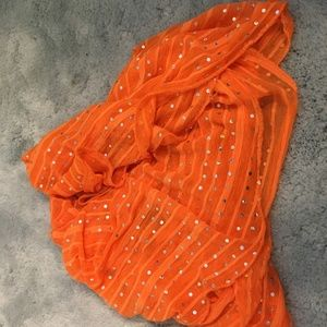 Long Orange Scarf with Sparkle
